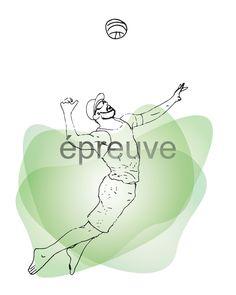 Volleyball de plage (homme) - Illustration numérique à télécharger - 8 x 10 de la boutique IsabelleDionne1 sur Etsy
