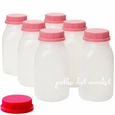 Mini Milk Jug Bottles w/ Cap (5 colors). Perfect for a milk and cookies party!