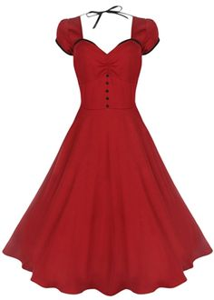 Lindy Bop Bella Red 50's Swing Dress