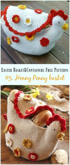 Crochet Henny Penny basket Free Pattern - #Crochet Easter #Basket & Containers Free Patterns