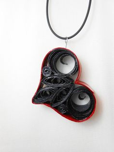 Black and Red Heart Paper Quilled Necklace by TwistedPlanet, $15.00