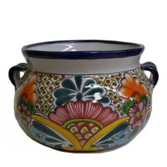 """Talavera Round Planter Pot, 13 x 9, Assorted Colors and Paint Patterns - From Casa Cordova Imports by Casa Cordova Imports by Creative Ventures. $48.00. This is a large Talavera Planter hand painted in the traditional Talavera style. At the widest points it measures approx. 8 1/2"""" tall, 13"""" wide (with handles). A drainage hole is at the bottom. Each piece is made of ceramic and painted in the traditional Talavera style. Since each piece is individually hand painted by Talave..."""