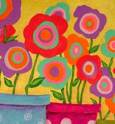 Folk Art Abstract Flowers Original by johnblakefolkartist on Etsy Source by Folk Art Flowers, Abstract Flowers, Flower Art, Abstract Art, Fabric Painting, Watercolor Paintings, Original Paintings, Original Art, John Blake