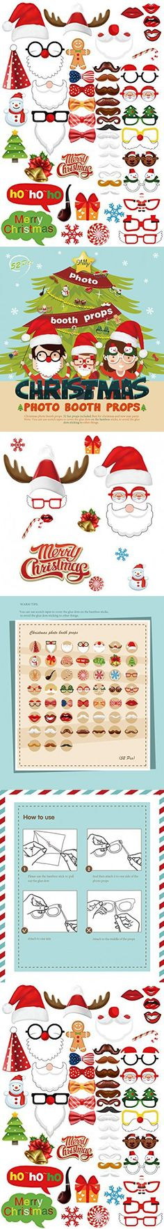 MOT Global Christmas Photo Booth Props 52 Pieces DIY Kits Party Supplies with 4 Free Bonus Bookmarks