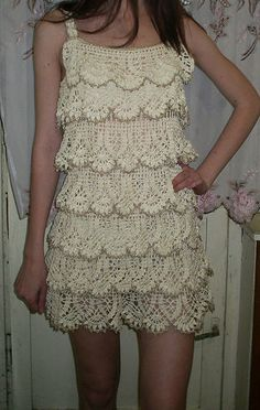 beautiful crochet lace tier dress! plus, clicking on this pic takes you to a russian crochet forrum that has *loads* of patterns & pics!!