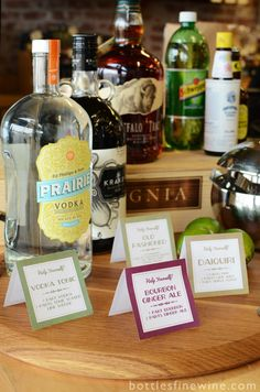 How to set up a Self Serve Bar, with free printable cocktail recipe signs. Great for Super Bowl Sunday!