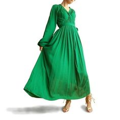 Green Sleeves 2 long dress Q1005 by idea2lifestyle on Etsy, $69.00