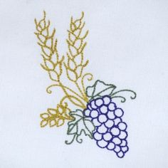 GRAPES AND WHEAT REDWORK 4X4