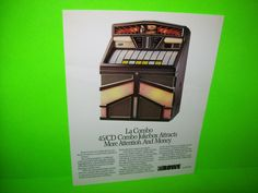 LA COMBO Model R-92 By ROWE AMI 1988 ORIGINAL JUKEBOX PHONO SALES FLYER #rowejukebox #promoflyer
