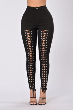 Buy Chicloth Women Lace Up Hollow Out High Waist Hole Ripped Skinny Pencil Pants,Cheap Womens Casual Pants,Cheap Jumpsuits and Rompers. Look Fashion, Fashion Outfits, Womens Fashion, Gothic Fashion, Plus Size Jeans, Plus Size Leggings, Cheap Plus Size Lingerie, Lace Up Leggings, Fishnet Leggings