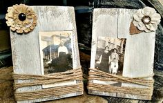 Rustic Painted Wood Block Picture Frame Home by TheVintageSpoonAZ