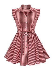 Gorgeous Button Up Printed Skater Dress Baby Girl Dress Patterns, Dresses Kids Girl, Day Dresses, Casual Dresses, Fashion Dresses, Red Skater Dress, Skater Dresses, Dress Red, Kids Frocks Design