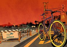 ilovedust - English multi-disciplinary design boutique   A series of original illustrations for Click for Art. The pieces were made in a limited edition of only 250 with all of them featuring bicycles in different interesting settings following their diverse working techniques, styles and expertise.