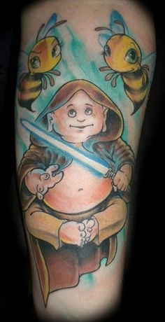 buddha jedi bee tattoo by slushbox, via Flickr