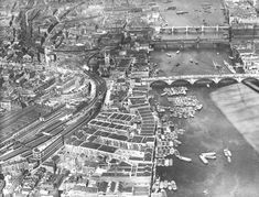 Aerial view of wharves and shipping activity around London Bridge, Borough and Bankside in 1920 1920 London, Vintage London, South London, Old London, London Pictures, Old Pictures, London Street, London City, London Docklands