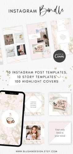 Make your Instagram Page shine with this Social Media Bundle. It includes Templates for Instagram Posts and Stories that you can edit in Canva. You'll also get 100 Instagram Highlight Covers in stylish rose gold and marble. #instagramtemplates #canvatemplates #instagramstory #highlightcovers Instagram Post Template, Creative Instagram Stories, Instagram Highlight Icons, Illustrator Tutorials, Blog Tips, Girl Boss, Media Marketing, Branding Design, Entrepreneur