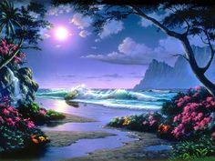 Resultado de imagen de paisajes con flores y agua