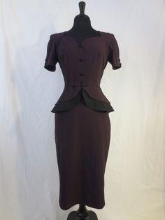 STOP STARING Victoria dress - $49.99 at JOHNNY BOMBSHELL #StopStaring #retro #wiggledress #purple #peplum #rockabilly #fortiesstyle