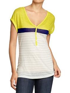 WVU! Women's Buttoned Linen-Blend Henleys | Old Navy