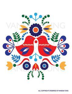 Folk Embroidery Patterns Scandinavian Folk Art Spring love bird flower by Illustrationpop - Hungarian Embroidery, Folk Embroidery, Paper Embroidery, Learn Embroidery, Embroidery Patterns, Folk Art Flowers, Flower Art, Bordado Popular, Polish Folk Art