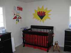 Superhero Nursery, This is a babys room that will hopefully last until he is 10 or so.  My mpm painted all ofthe superheroes on the walls!  ...