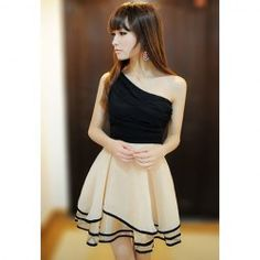 $11.01 Sloping Shoulder Sleeveless Color Block Sexy Style Chiffon Dress For Women