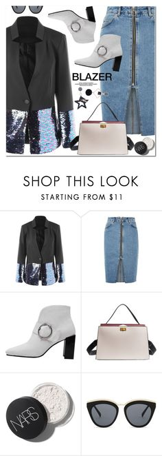 """Sequined Hem One Button Blazer"" by oshint ❤ liked on Polyvore featuring Topshop and Le Specs"