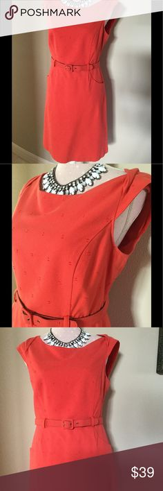 Coral Matching Belt Dress Size 8 Coral Matching Belt Dress Size 8 EUC, fully lined, Back center zipper perfect for business attire or an venting out Merona Dresses
