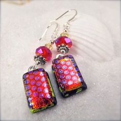 Dichroic glass earrings valentines day by HanaSakuraDesigns
