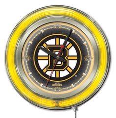 Boston Bruins Neon Logo Clock