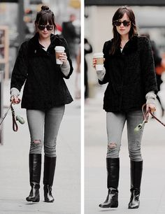everythingdakotajohnson:  Dakota Johnson out and about with Zeppelin in NYC on April 8th, 2015.