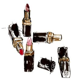 A girl never has too many lipsticks! Illustration by Lovisa Burfitt.