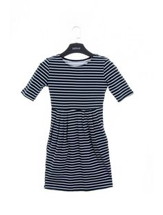 Dámske šaty Stripe - Šaty - Dámske oblečenie - JUSTPLAY Short Sleeve Dresses, Dresses With Sleeves, Blue, Fashion, Moda, Sleeve Dresses, Fashion Styles, Gowns With Sleeves, Fashion Illustrations
