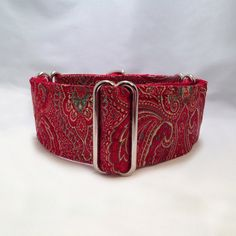 2 inch Martingale Collar Red Paisley Brocade Fabric by fabcollarhounds, $18.99