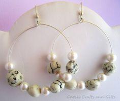 White Hoop earrings Stone earrings Memory by GnosisCraftsandGifts