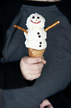 snowman ice cream cone
