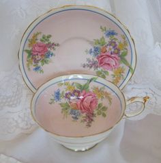 Gorgeous Pale Pink Paragon Teacup and Saucer by TheOldRoadHome, $30.00