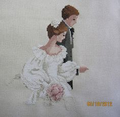 The Wedding Cross Stitch in progress