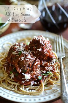 All Day Tomato Sauce + Braciole - A healthier, 21 Day Fix approved take on a special family recipe. This would be perfect for a holiday, serving company or Sunday dinner.