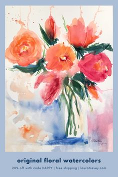 Shop original watercolor paintings with free shipping!