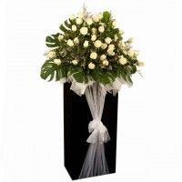White Roses With Caspia arranged on a Box stand With White Tile Fabric