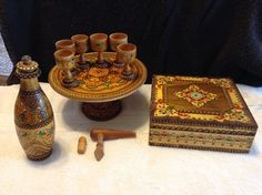 Vintage Pyrography  Wooden Decanter with by RobandJensOddsnEnds