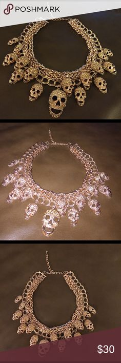 NWOT sparkley Rose gold colored skull choked The skulls noses are upside down hearts too cute! Jewelry Necklaces