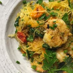 Roasted Spaghetti squash with spicy lemon shrimp