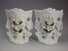 Pair antique mid-1800s French white porcelain wedding mantle fan-shaped vases #Unsigned