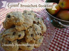 Giant Breakfast Cookies Recipe Desserts, Breakfast and Brunch with butter, honey, eggs, salt, cinnamon, baking soda, vanilla, buttermilk, whole wheat flour, rolled oats, raisins