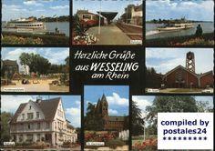 Ansichtskarte von Wesseling mit Rheinpark, Bahnhof, Kinderspielplatz, St. Josef, Rathaus, St. Germanus, 1972 gelaufen. Stichworte: #Wesseling #Germany #Photography