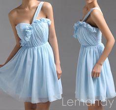 short one strap sweetheart light sky bule by Lemandyweddingdress, $99.00