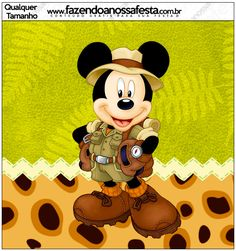 Enjoy this free Mickey Mouse Safari party pack. Mickey Mouse Clubhouse Birthday Party, Mickey Birthday, Mickey Party, Jungle Theme Parties, Safari Party, Safari Theme, Mickey Mouse Imagenes, Mickey E Minnie Mouse, Mickey Mouse Background