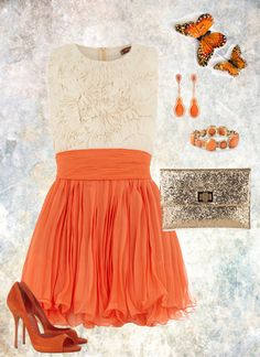 """""""Spring Orange Outfit"""" by maria-garza on Polyvore"""